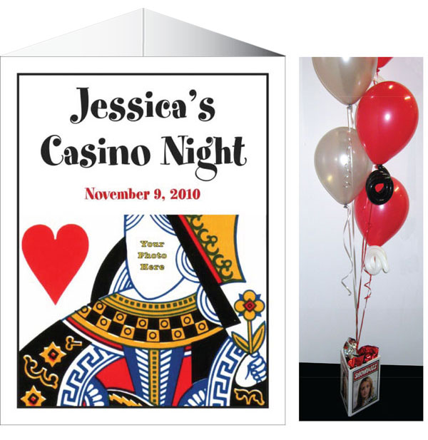 Casino Theme Queen of Hearts Centerpiece / Add a photo to this casino theme centerpiece