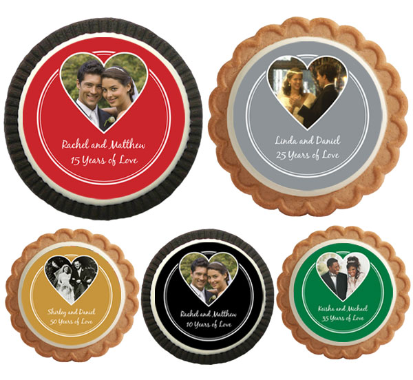Anniversary Heart Photo Theme Cookie