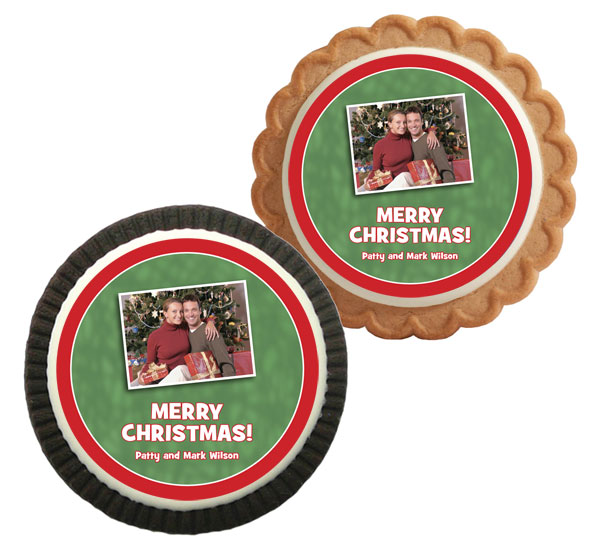Christmas Photo Theme Custom Cookie / Adding your photo to these cookies will be a great addition to your Christmas party