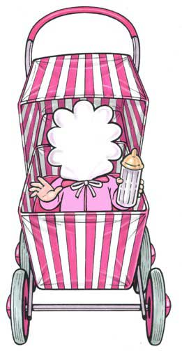 Baby Carriage Cutout, Baby Girl