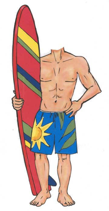 Surfer Cutout / It's a super cool party so hang ten.