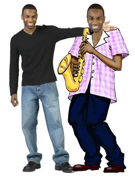 Jazz Player Theme Cutout, African American / A great cutout for a Mardi Gras party.