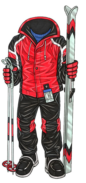 Skier Male Life-Sized Cutout