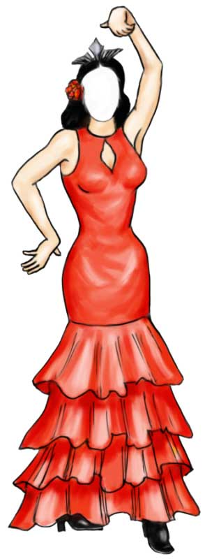 Fiesta Cutout, Flamenco Dancer Female