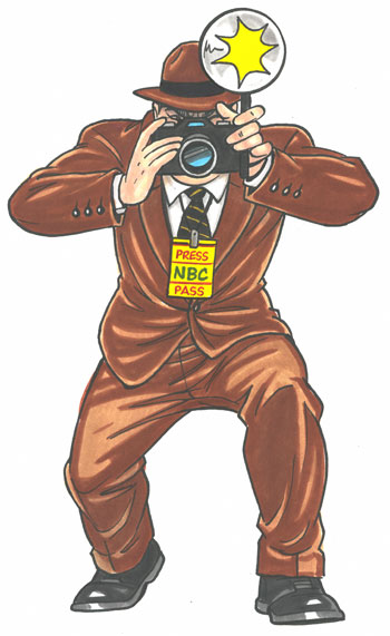 Paparazzi photographer lifesize cutout, brown suit