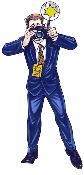 Paparazzi photographer lifesize cutout, blue suit