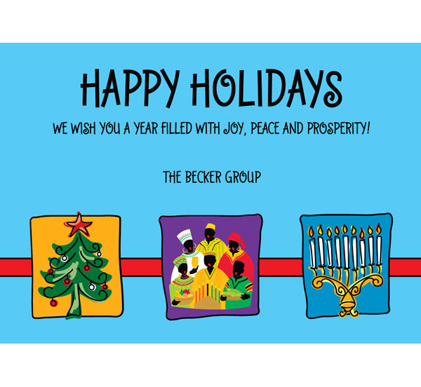 Winter Holidays Trio Theme Holiday Card / A great holiday card featuring Christmas, Kwanzaa and Chanukah.