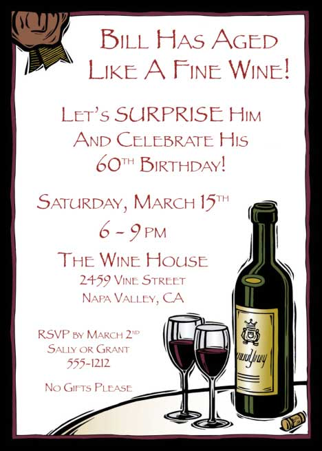 Birthday Wine Invitation / Aged like a fine wine, good idea for a birthday theme, no? A birthday invitations for a wine lover.