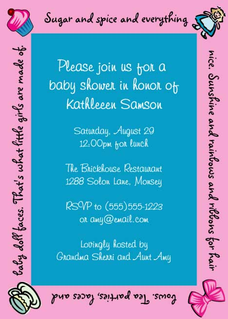 Baby Girl Shower Invitation / Sugar and spice and everything nice for the baby girl!