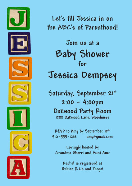 Baby Blocks Baby Shower Invitation / The ABCs of Parenthood.