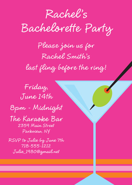 Bachelorette Martini Invitation / It's Cocktail night with this personalizable invitation.