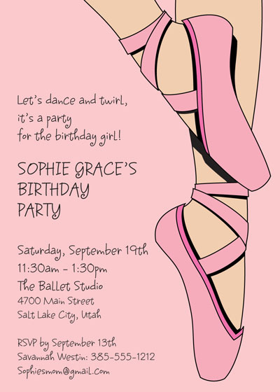 Prima Ballerina Ballet Invitation / Get on your toes with these Ballerina Girl's birthday party invitations!