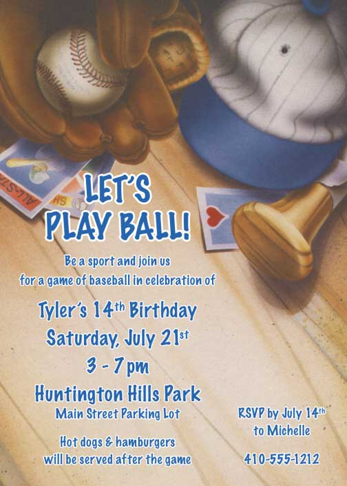 Baseball Gear Invitation / Take me out to the ball game.