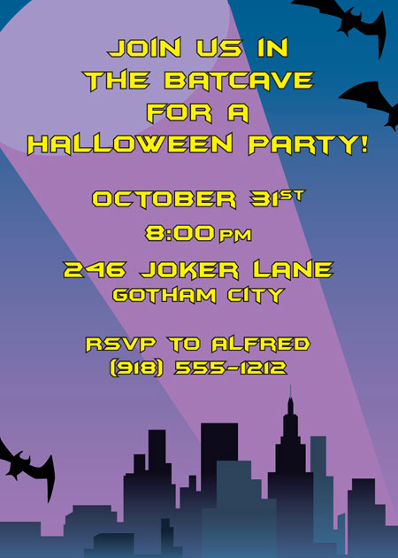 Kapow! Batman Halloween Invitation / Great for a Batman themed Halloween or any Halloween Party.