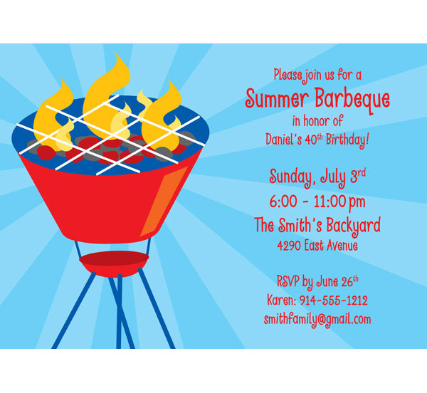 Summer Backyard Party Invitation : Barbecue Party Theme Invitation