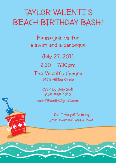 Beach Party Invitation / Party on the beach!! What fun.