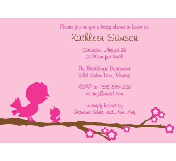 Baby Bird Girl Baby Shower Invitation