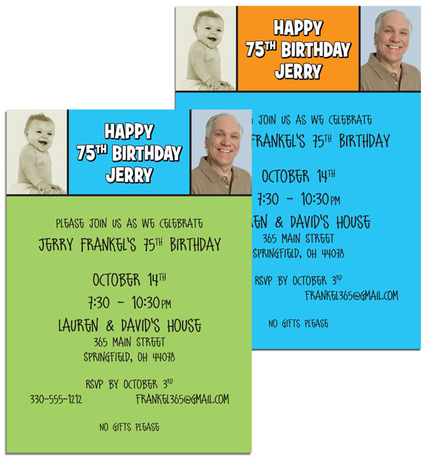 Birthday Double Photo Blue Invitation