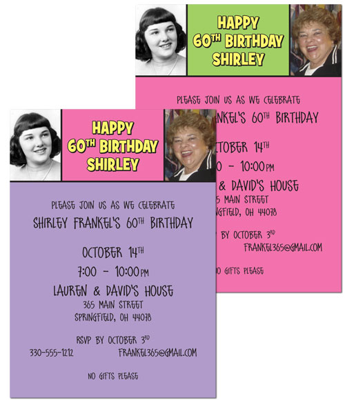 Birthday Double Photo Pink Invitation