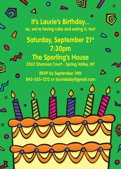 Cake on your Birthday Invitation / Party hats and noisemakers What a party!