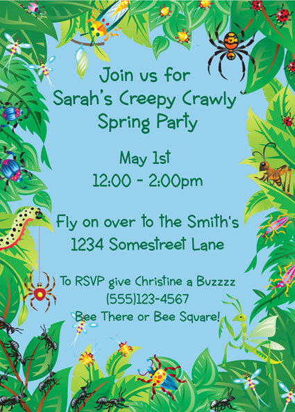 "Wriggly Bugs Invitation / Why not ""bug"" your guests about coming to the party?"