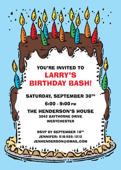 Birthday Cake For Him Invitation