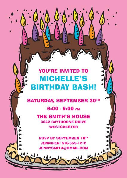 Milestone birthday birthday cake for her invitation stopboris Gallery