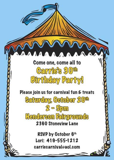Carnival Theme Invitation
