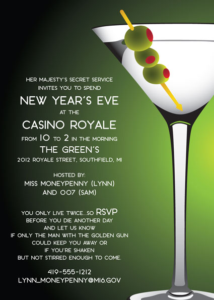 Casino Royale, Martini Party Invitation / Going to a casino royale? Remember shaken not stirred.