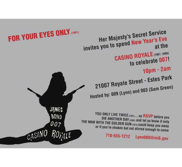 Casino Royale 007 Bond Invitation / The name's Bond. James Bond.