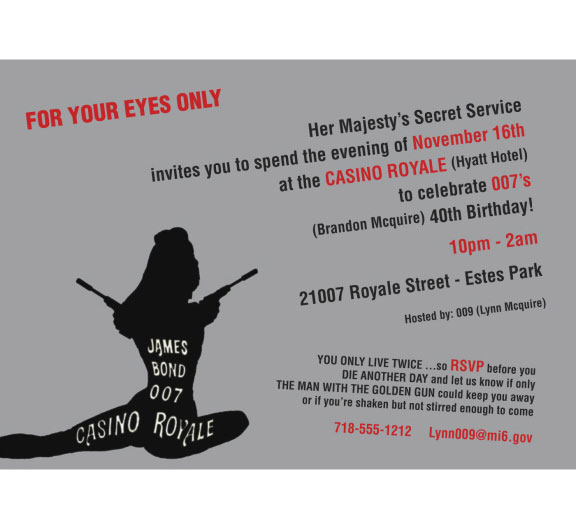 Casino Royale Bond 007 Theme Invitation / A casino royale theme birthday party invitation