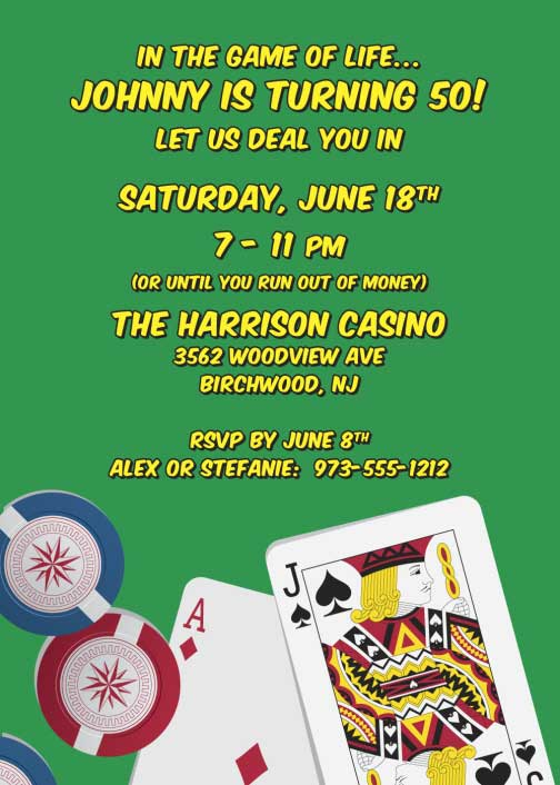 Casino Cards Party Invitation / The party is a perfect draw. Blackjack!