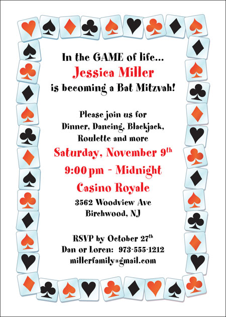A Casino Party Invitation / Playing cards and not playing poker? This invite is for you.