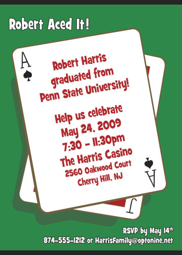 Graduation Casino Invitation / Nothing beats aces up!