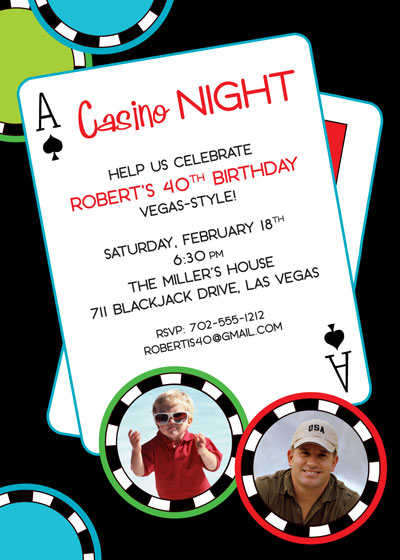 Casino Poker Chips Photo Invitation