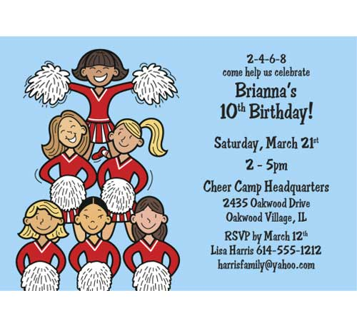 "Cheerleading Team Invitation / ""Cheer"" your child up with this theme party."