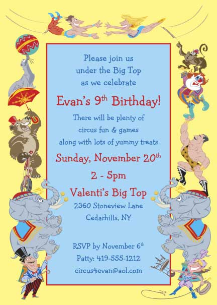 Circus Party Invitation / All kid's love a circus!