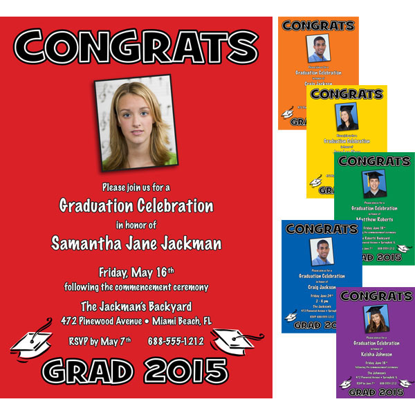 Graduation Color Choice Invitation / Use the school colors as a back drop for a great graduation party.