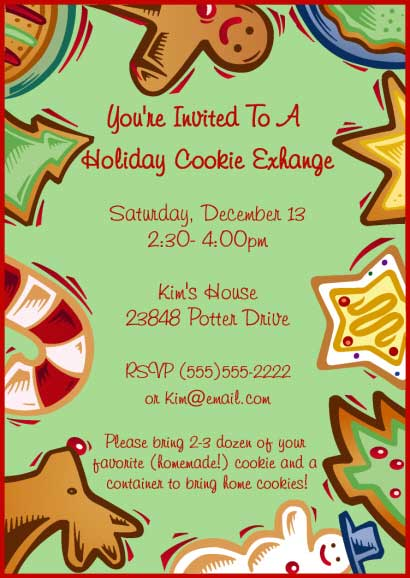 Christmas Cookies Invitation / Perfect for a holiday cookie exchange.