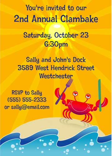 Crab and Clambake Invitation
