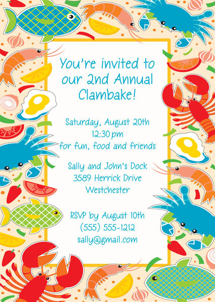Clambake Invitation / This works with all seafood theme parties.