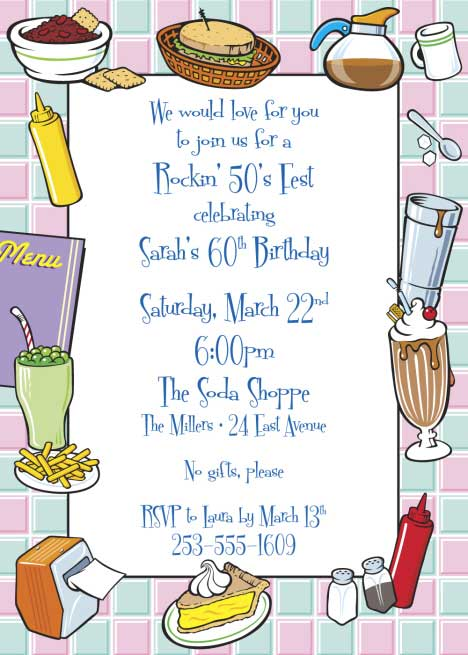 50s Diner Invitation / Get your guests ready for your 50s themed party!