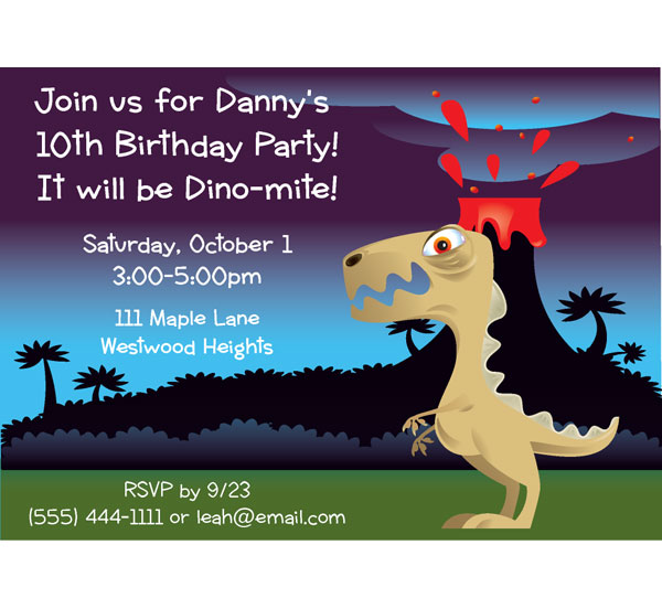 "Dinosaur Party Kids Birthday Invitation / This should be one ""Dino-Mite"" party!"