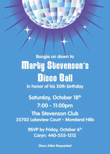 Disco Ball Theme Invitation / Disco ball means dancing!