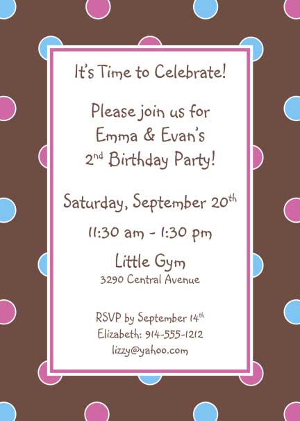 Polka Dot Invitation, Brown, Blue and Pink