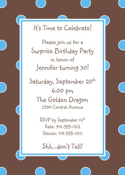 Polka Dot Invitation, Brown and Blue