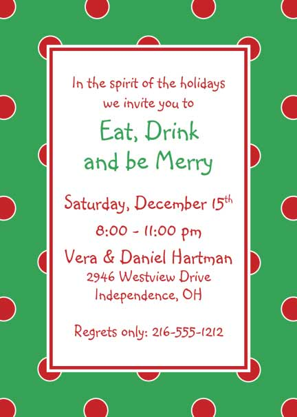 Polka Dot Invitation, Green and Red / Maybe for the holidays?