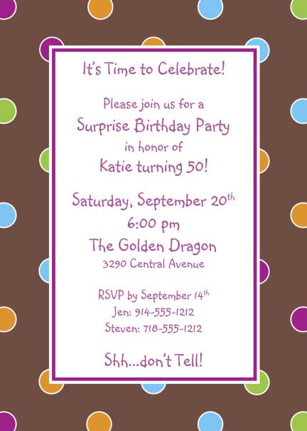 Polka Dot Invitation, Multiple Colors