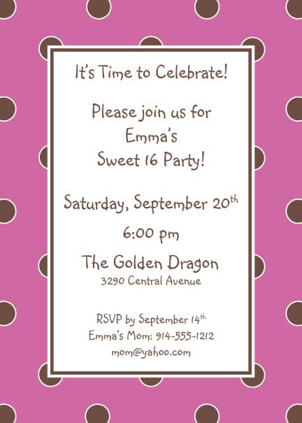 Polka Dot Invitation, Pink and Brown