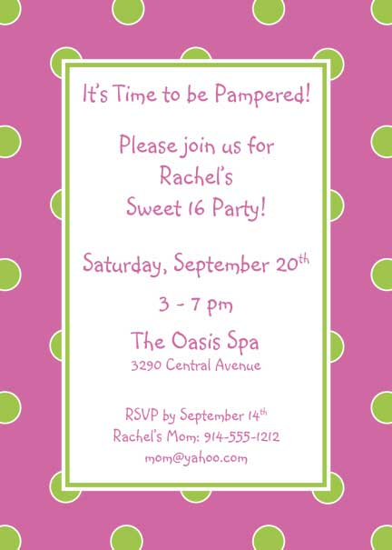 Polka Dot Invitation, Pink and Green / A sweet invitation for a Sweet 16 or any birthday!